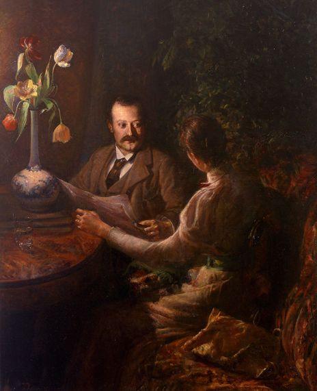 Ingeborg_Kolling_Paar_in_Interieur_zur_Abendzeit_1895